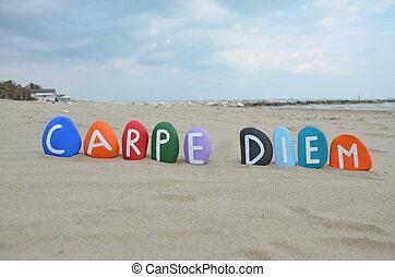Stones composition of the Carpe Diem latin phrase over the beach