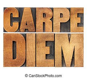 Carpe Diem in wood type - Carpe Diem - enjoy life before it...
