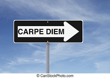 Carpe Diem - A conceptual road sign on opportunity (against...