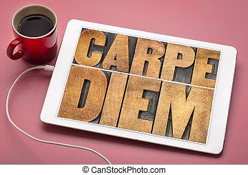Carpe Diem word abstract in wood type - Carpe Diem - enjoy...
