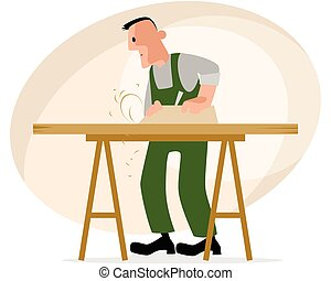 Carpenter and crafting table