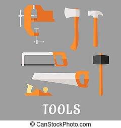 Carpenter and DIY tool flat icons