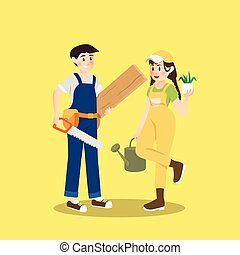 Carpenter and gardener are pair of different occupation