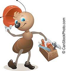 Carpenter ant in the helmet bears toolbox. Vector cartoon ...