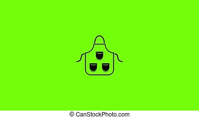 Carpenter apron icon animation best simple object on green screen background