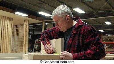Carpenter at work in woodshop - Side view of a Caucasian ...