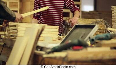 carpenter at work power tools wood video