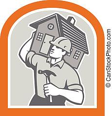 Carpenter Builder Carrying House Retro