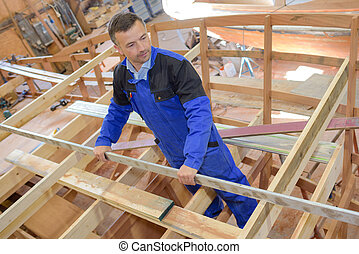 Carpenter building framework of boat