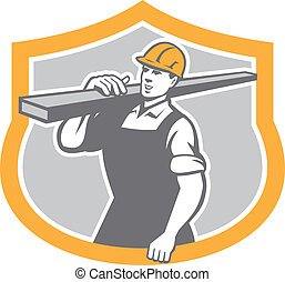 Carpenter Carry Lumber Shield Retro - Illustration of a...