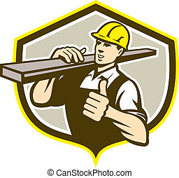 Carpenter Carry Lumber Thumbs Up Shield