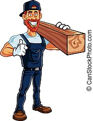 Carpenter Cartoon Mascot Vector