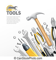 Carpentry construction and house renovation tools realistic composition background poster with hammer screwdriver and spanner vector illustration