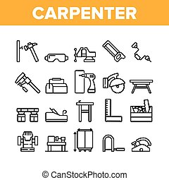 Carpenter Equipment Collection Icons Set Vector