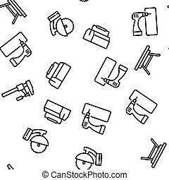 Carpenter Equipment Vector Seamless Pattern