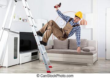 Carpenter Falling From Step Ladder