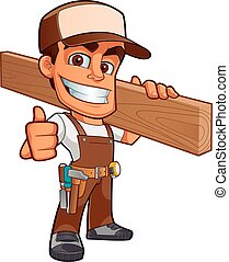 Friendly carpenter, he is dressed in work clothes and carrying a wooden