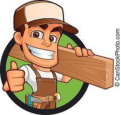 Carpenter - Friendly carpenter, he is dressed in work ...