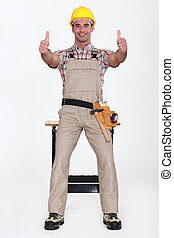 Carpenter giving the thumbs up