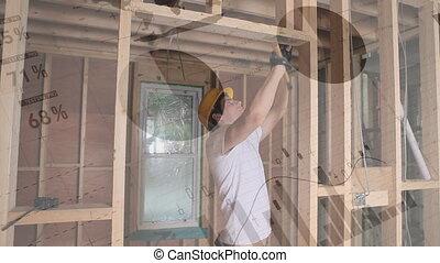Carpenter hammering nails - Digital composite of a male ...