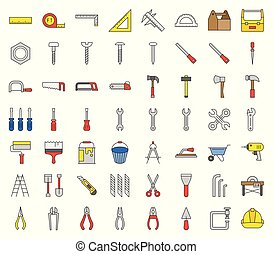 carpenter, handyman tool and equipment icon set, filled outline design