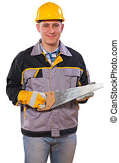 carpenter holding handsaw isolated
