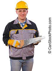 carpenter holding handsaw isolated