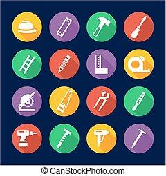 Carpenter Icons Flat Design Circle