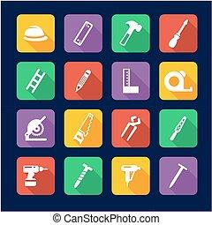 Carpenter Icons Flat Design