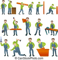 Carpenter icons set, cartoon style