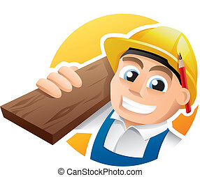 Carpenter illustration - Illustration of a happy carpenter...
