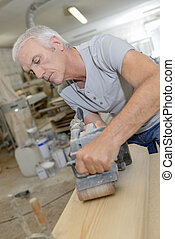 Carpenter in the workshop