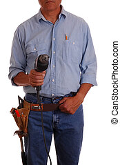 Carpenter in toolbelt holding drill - Carpenter pointing...