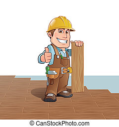 Carpenter installing wood flooring
