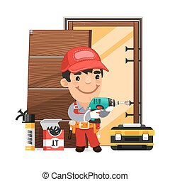 Carpenter Installs the Door. Isolated on white background. Clipping paths included in additional jpg format.