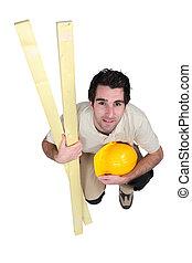 carpenter., kneeled