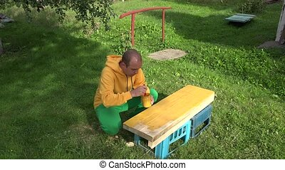 Carpenter man with brush and paint jar in hands painting wooden plank board surface in yellow. 4K