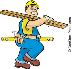 carpenter on the construction - carpenter with a board and...