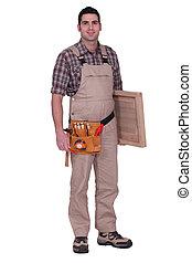 Carpenter on white background