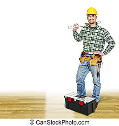 carpenter on wood floor