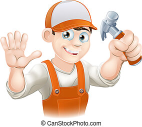 Carpenter or builder with hammer - Graphic of smiling...