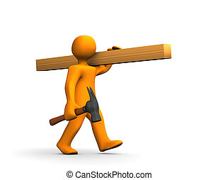 Orange cartoon carpenter with a hammer and lumber isolated on white.