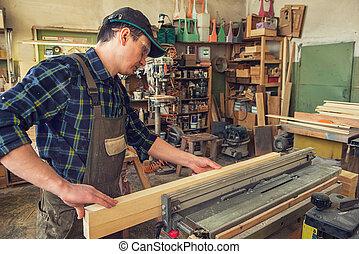 Carpenter planed wooden block