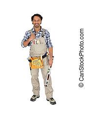 Carpenter posing with spirit level