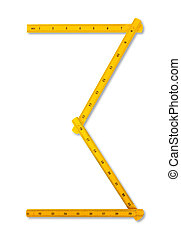 Carpenter rule looking like number three. Isolated over white background with clipping path