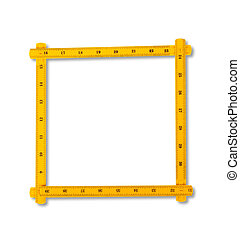 Carpenter rule looking like number zero. Isolated over white background with clipping path