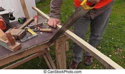 Carpenter sawing timber