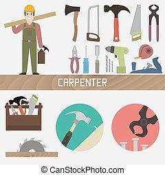 Carpenter. Set in a flat style