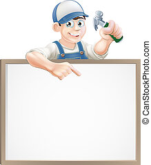 Carpenter sign - A carpenter or builder holding a claw...