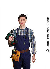 Carpenter standing on white background with electric drill
